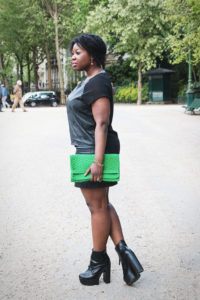 All black ootd + Black Leather Platform Boots + Green handbag