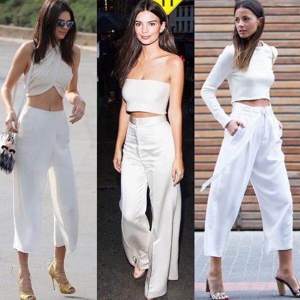 Pantalon large blanc cassé et taille haute