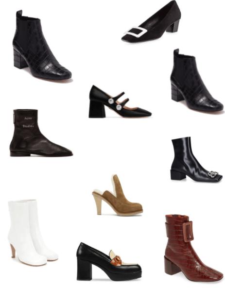 Tendance automne-hiver 2019/2020 : les souliers aux bouts carrés