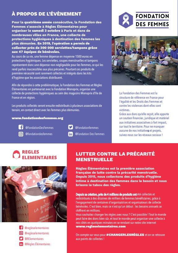 Collecte de protections périodiques : la Fondation des Femmes s'associe à Règles Elémentaires pour lutter contre la précarité menstruelle des femmes en France