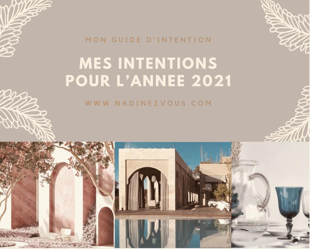Mes intentions pour l'année 2021